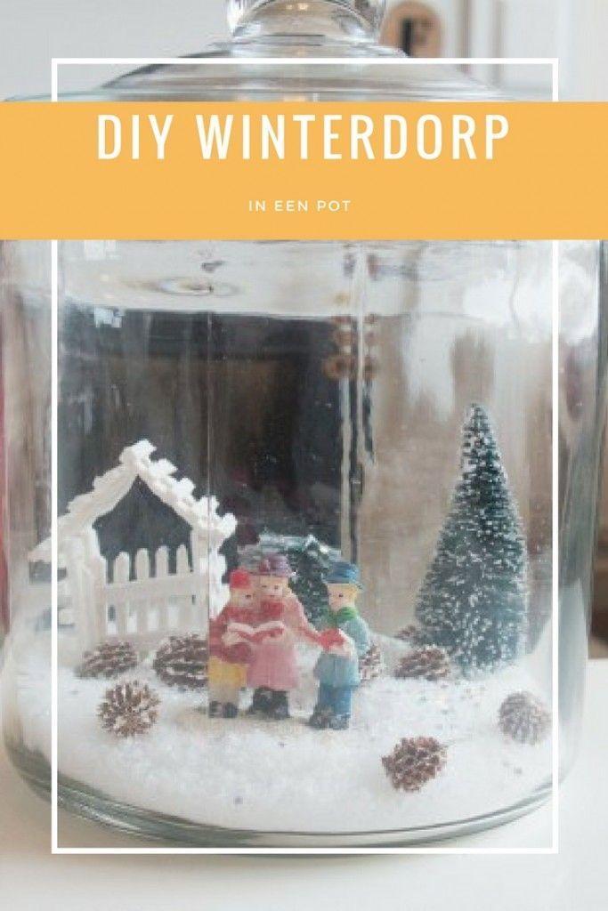Diy Winter Dorp In Een Pot The Days Before Christmas Kerst Pronkstukken Decoraties Kerst
