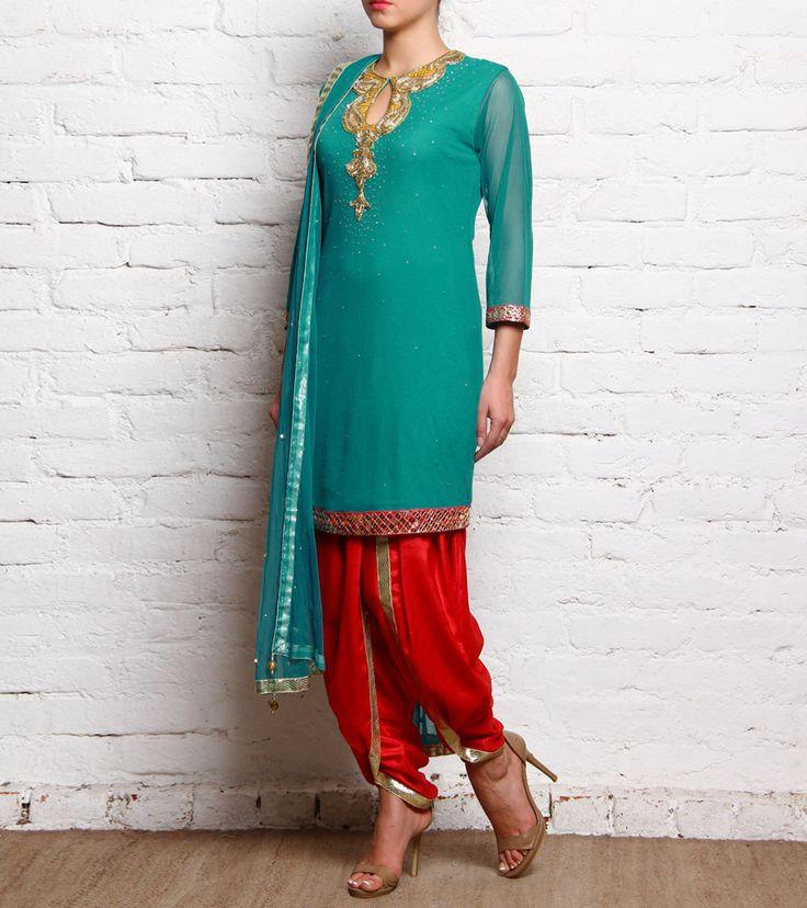 Green & Red Sequined Tulle Salwar Kameez