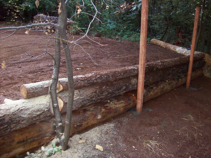Vertical Log Retaining Wall Google Search Yard And