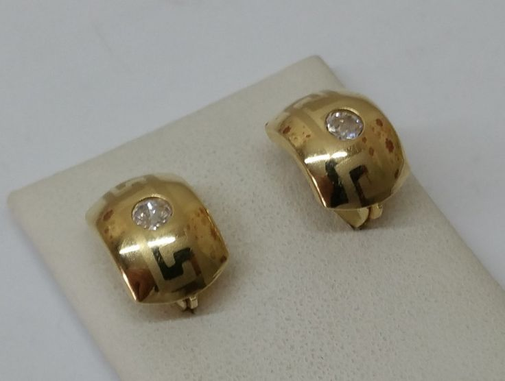 Vintage Ohrstecker - Ohrringe Gold 585 Ohrhänger Mäander Kristall OR105 - ein…