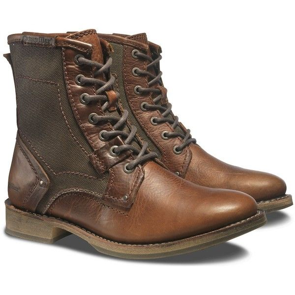 Caterpillar Abe Canvas Boot (270 BGN) ❤ liked on Polyvore featuring men's fashion, men's shoes, men's boots, men, shoes, zapatos hombre, peanut, mens boots, mens lace up boots and mens lace up shoes