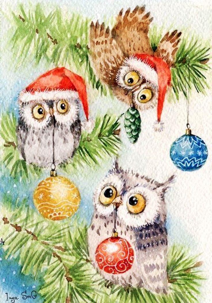 Открытки с совушками новогодние, открытку дедушке