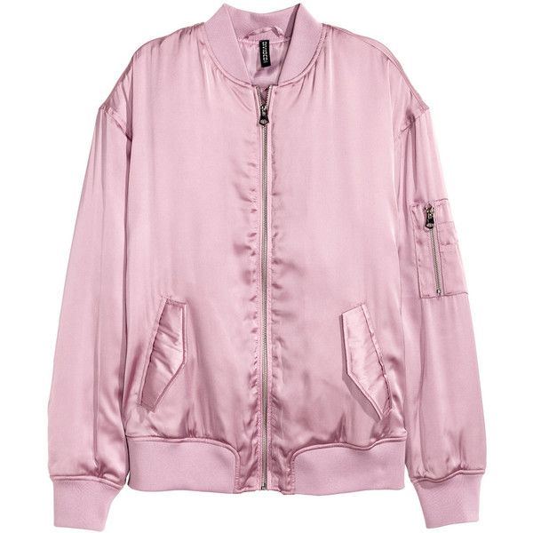 H&M Satin Bomber Jacket $29.99 ($60) ❤ liked on Polyvore featuring outerwear, jackets, tops, clothing - jackets, h&m, snap jacket, pink satin jacket, blouson jacket, zip jacket and satin jackets