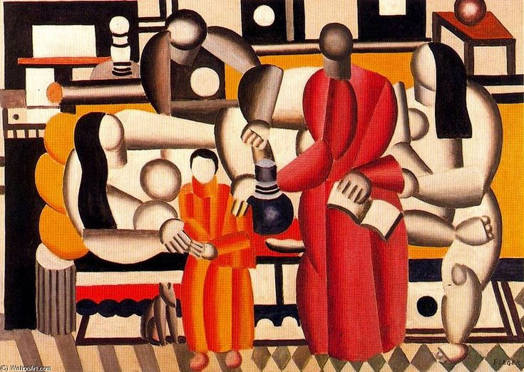 'las mujeres en una interior', óleo de Fernand Leger (1881-1955, France)