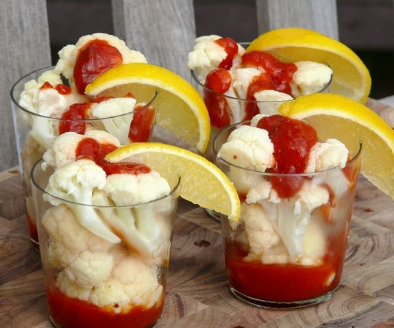 Poor Man's Shrimp Cocktail - with Cauliflower! We could eat this every night. So easy to make and babies love it too :) At least my little piglet does.