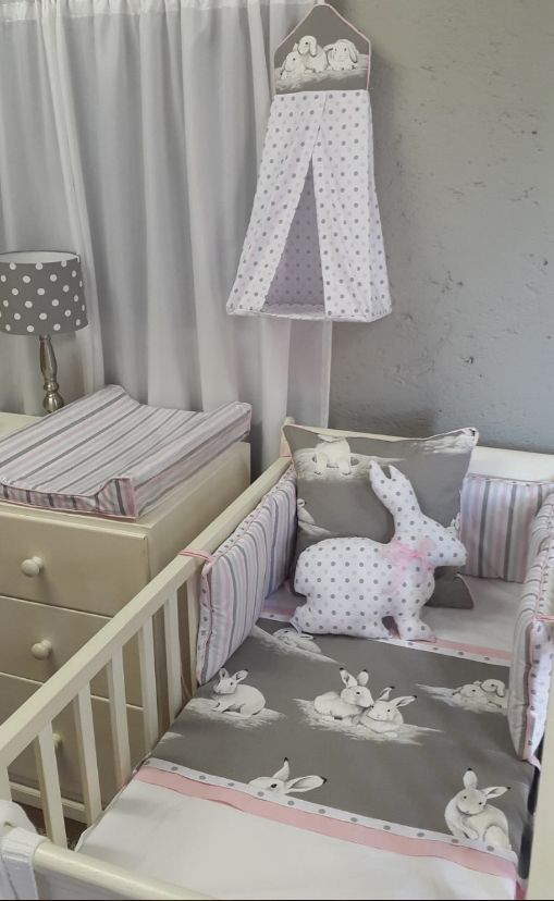 Our Bashful #Bunny fabric matches perfect for any #BabyGirl's nursery! Matched with our #Pink and #Grey spots and stripes, you can turn any nursery into a wonderland!   #BabyBedding #BabyLinen