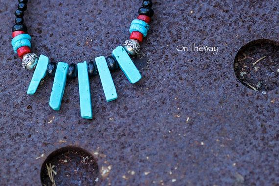 Turquoise onyx and red coral necklace by LanguWorld on Etsy