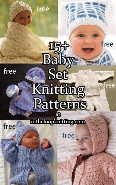 Knitting patterns for matching baby sets including layettes, hats, blankets, booties, sweaters