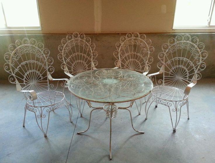 Iron patio set garden furniture vintage furniture outdoor furniture