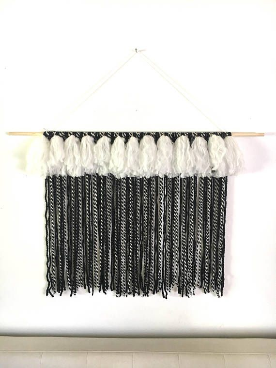 Black & white striped large tapestry with tassels