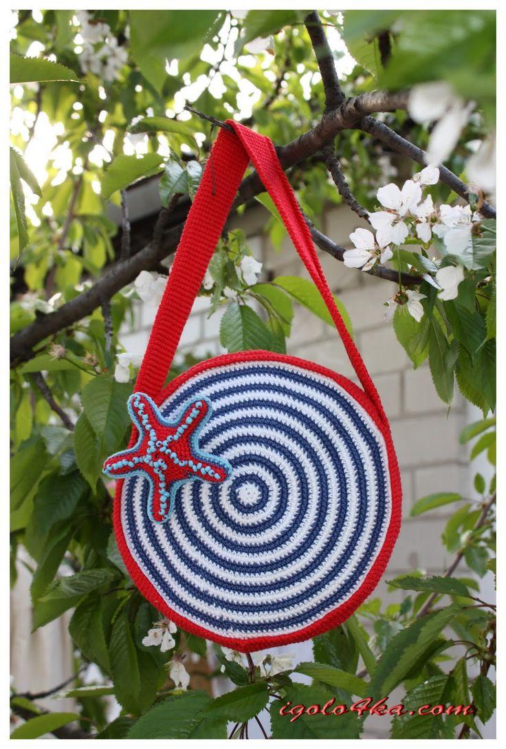 Радуга рукоделия.: [Мастер-класс] Вязаная крючком детская сумочка в морском стиле