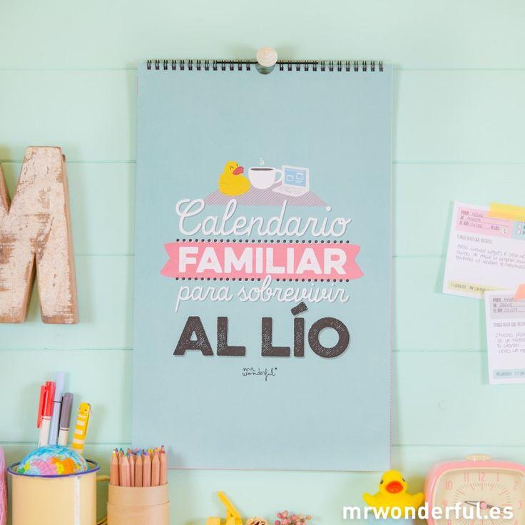 Calendario de pared familiar 2015 para sobrevivir al lío.http://www.mrwonderfulshop.es/es/calendario-familiar-2015-para-sobrevivir-al-lio.html