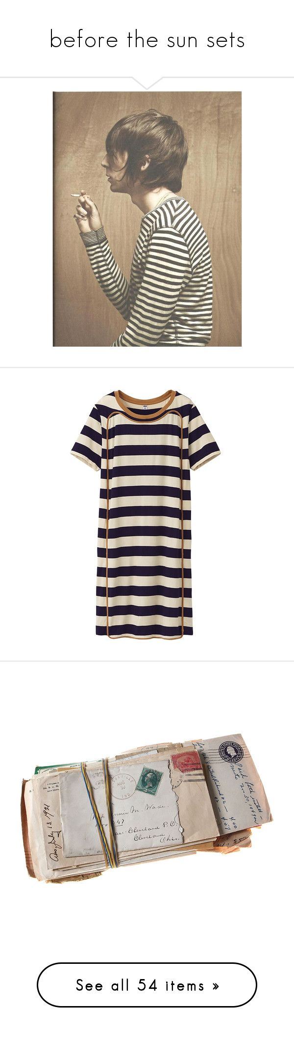 before the sun sets by kk49 on Polyvore featuring women's fashion, dresses, tops, robes, vestidos, stripe dress, uniqlo dress, short sleeve dress, short-sleeve dresses and purple striped dress