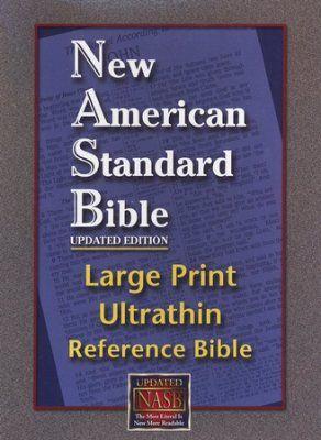 NASB Large-Print Ultrathin Reference Bible--bonded leather, burgundy  -