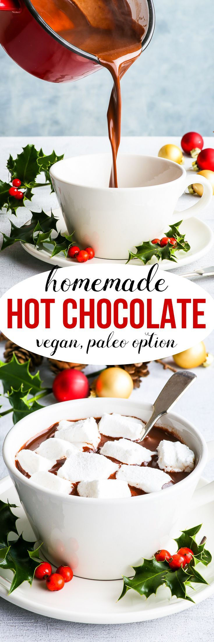 Homemade Hot Chocolate Mix {gluten, dairy, egg, nut & soy free, refined sugar free option, vegan, paleo option} - This homemade hot chocolate mix makes the most delicious, decadent, luscious hot chocolate. It's definitely a go-to on a cold, dreary day – after all, homemade hot chocolate is the ultimate comfort Christmas drink.