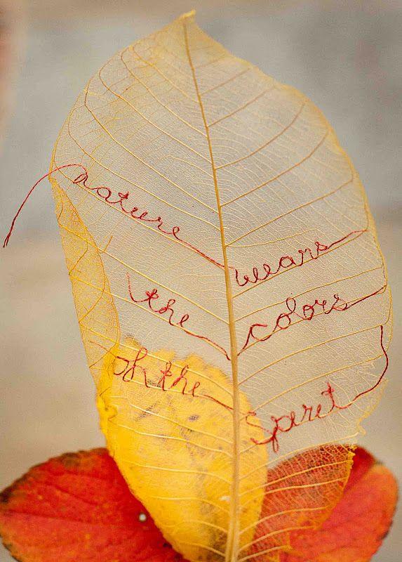 embroidery on skeleton leaf