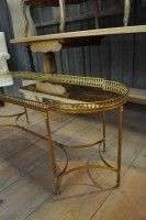 French 1950's brass and mirror coffee table
