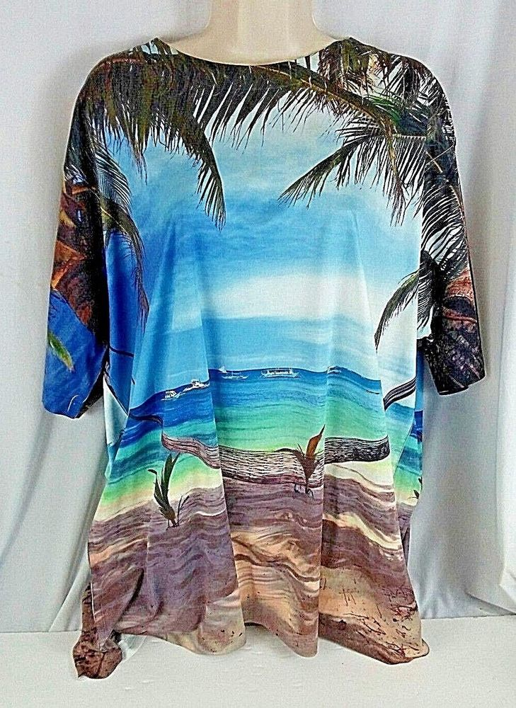 Get A Life Beach Palm Trees Tropical Island Tee Shirt  2XL XXL Hawaiian Ships #GetALife #GraphicTee