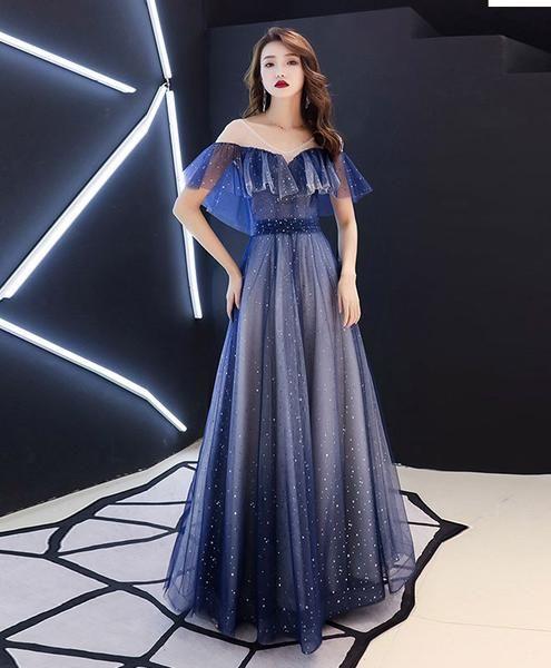 Langes blaues Tüll-Partykleid mit V-Ausschnitt, blaues Tüll-Abendkleid   – Outfits
