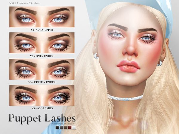 The Sims Resource: Puppet Lashes N34 by Pralinesims • Sims 4 Downloads