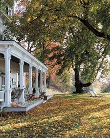 New England fall.Country Porches, Dreams Home, Old Trees, Southern Porches, Front Yards, Dreams Porches, House, Wraps Around Porches, Front Porches
