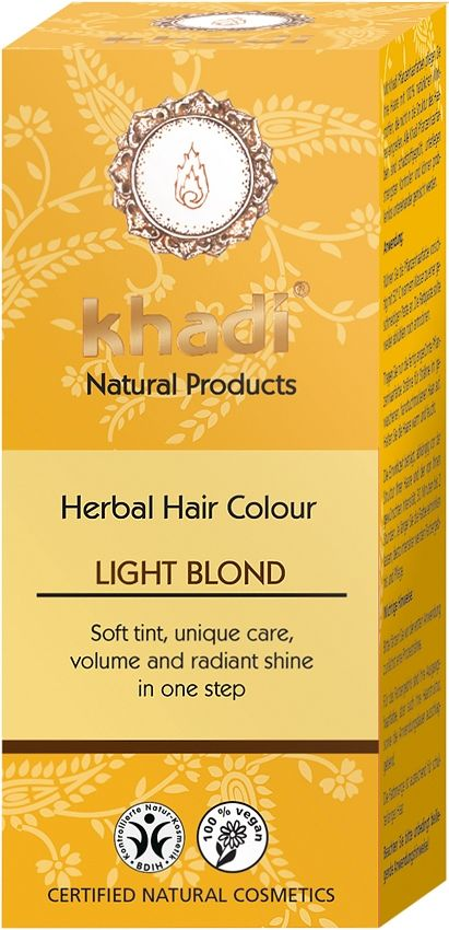 Khadi Herbal Hair Colour Light Blonde ~ Certified Natural Cosmetics. Khadi Natural Products - Herbal Hair Color - Light Blond - soft tint, unique care, volume & radiant shine in one easy step. #Henna #HairColour #Khadi #Natural #Organic #Blonde #Blond #Eczema #SensitiveSkin
