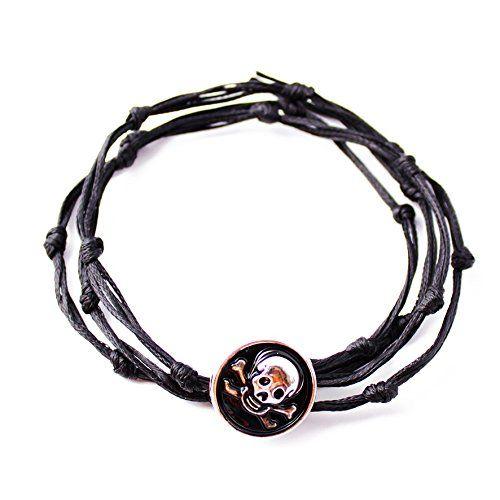 RAVE von PerePaix Handmade Herren Schmuck - Kollektion Knotty - Wickelarmband mit Schwarz Silber Schädel Knopf und Wachs Schnur - auch als Halskette oder Fußbändchen: 45€