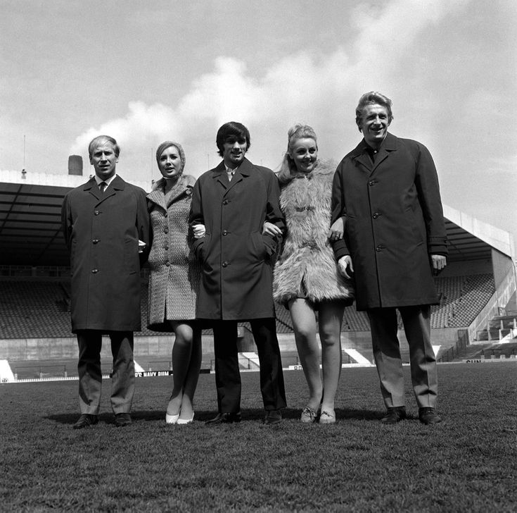 """The Holy trinity"" Bobby Charlton, George Best, Denis Law and some models who happened by, 1967."