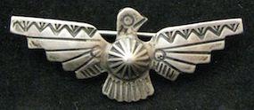 Fred Harvey Navajo tourist thunderbird pin repousse applique