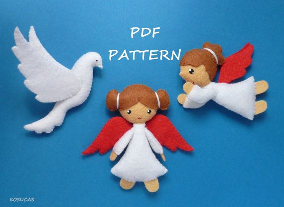 PDF sewing pattern to make felt small angels and a dove