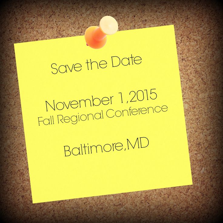 Save the date! Our Fall Regional Conference is coming up quickly! We can'