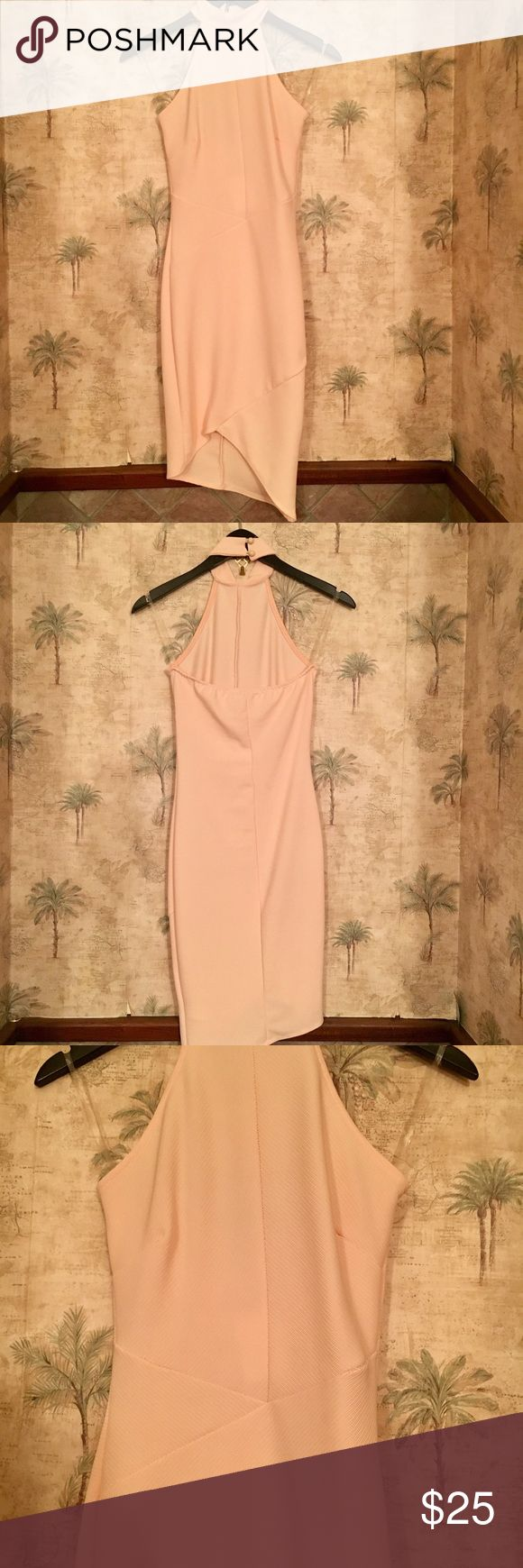 ✨✨ NEW✨✨ Charlotte Russe high neck fitted dress ❤ This brand-new Charlotte Ruuse dress is in perfect condition and has original tags attached. The high neckline and fitted bodice is super trendy right now! The color is a soft pink. The bottom of the stress is a symmetrical. From a smoke free 🚫 pet free home 🐶 Charlotte Russe Dresses Mini
