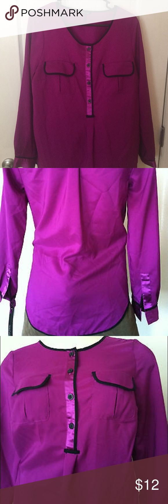 Daisy Fuentes Purple Long Sleeve Blouse Daisy Fuentes Purple Long Sleeve Purple Blouse Daisy Fuentes Tops Blouses