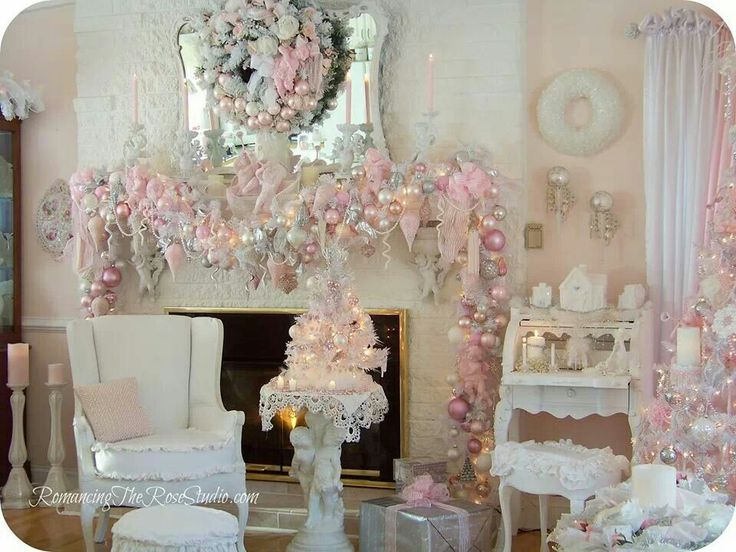 Beautiful pink ornaments decorated mantel by regina. Find this Pin and more on Shabby Chic Christmas ... & 194 best Shabby Chic Christmas images on Pinterest | Pink christmas ...