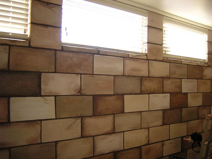 brown natural painted cinder block walls cinder block on concrete basement wall paint colors id=63496
