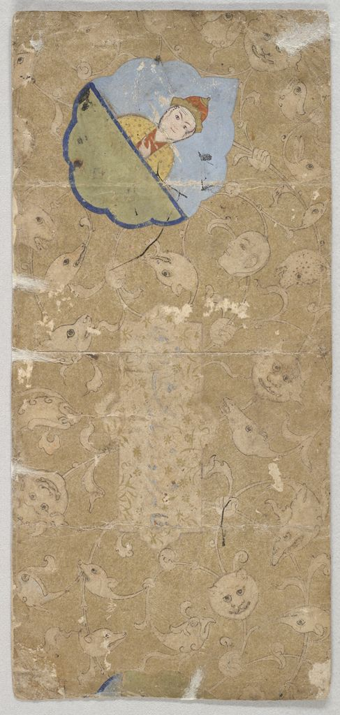 Calligraphy illuminated with birds (recto); Calligraphy illuminated with waqwaq scroll and painting of prince (verso) Iran 15th century