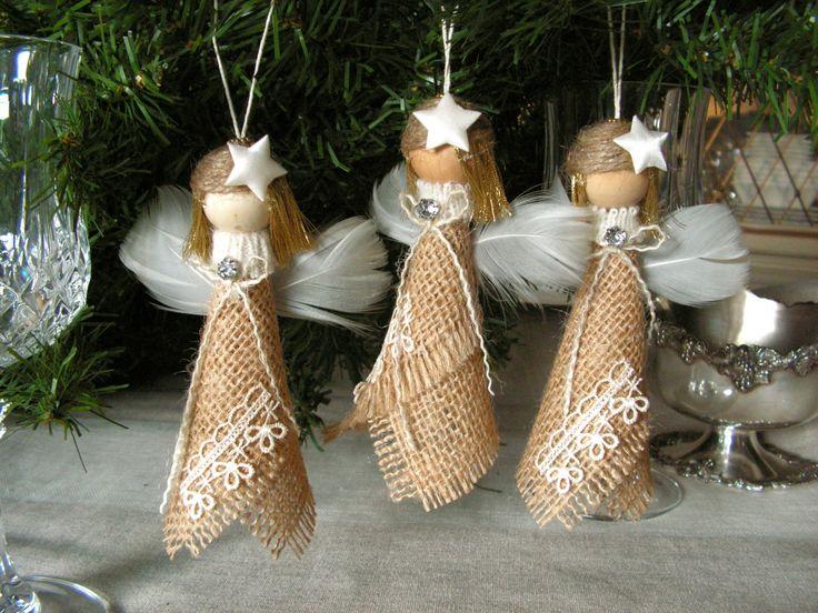 Christmas Ornament burlap angel  set of 3 by Mydaisy2000 on Etsy, $26.00