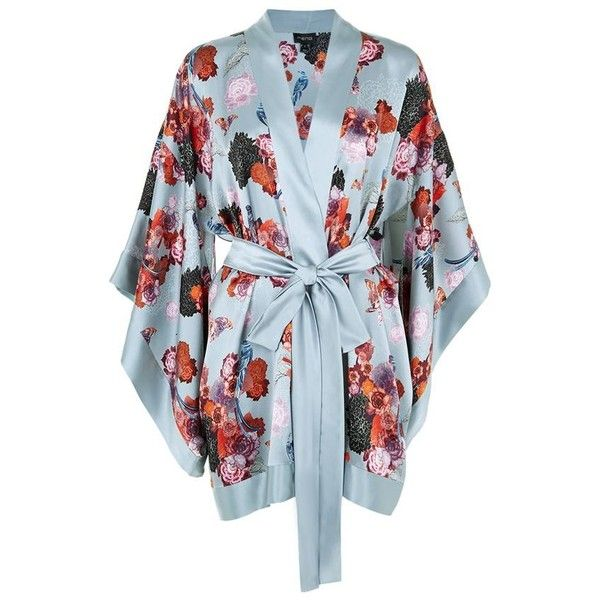 Meng Floral Printed Short Silk Kimono (€720) ❤ liked on Polyvore featuring intimates, robes, floral print kimono, short robe, floral kimono, floral robes and floral kimono robe