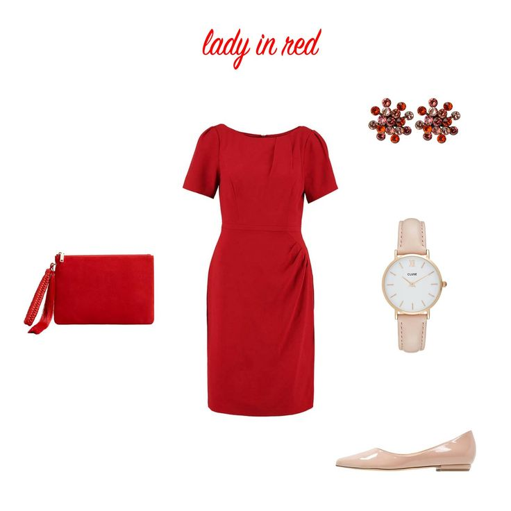 """:: ELEGANT ::  Meine Kundin wurde zu einer Feier unter dem Motto """"Abend in rot"""" eingeladen. Ich persönlich finde ja, wir sollten alle viel mehr rot tragen und gute Laune versprühen.   Wie gefällt euch der Look?  #ladyinred #etuikleid #ballerina #clutch #abendkleid #cocktailkleid #hochzeit #trauzeugin #hochzeitsgast #prettyinred #roteskleid #kleider #trendkleider #rot"""