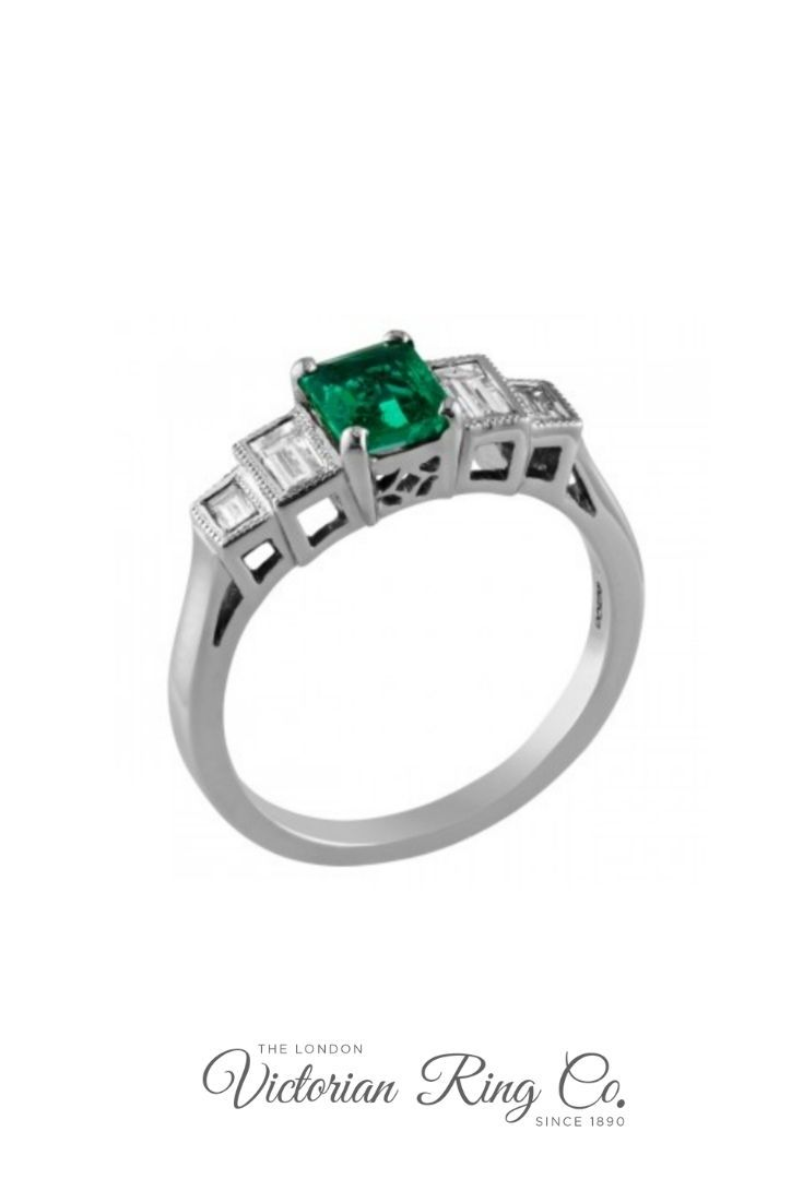 Emerald Ring With Baguette Diamonds The Is Set Four Claws Leading To Rubover That Have Been Expertly Millegrain Edged Small: Green Lantern Emerald Wedding Band Set At Websimilar.org