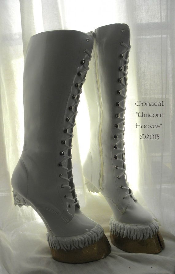 Is it weird that I kinda want a pair of these? White Unicorn Hooves for Costume  Custom Made Boots to by Oonacat, $440.00