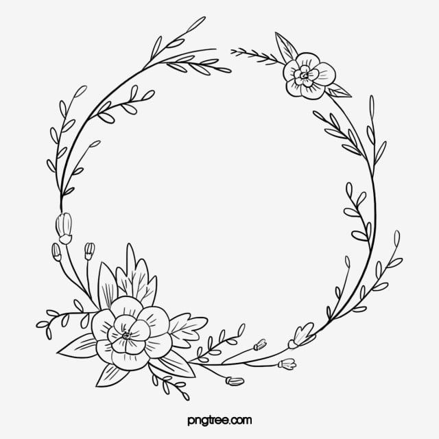 Black Hand Painted Line Side Wedding Decoration With Enclosed Round Symbolic Flower Border Border Clipart Marry Wedding Decorations Png Transparent Clipart Flower Embroidery Designs Wreath Drawing Flower Border