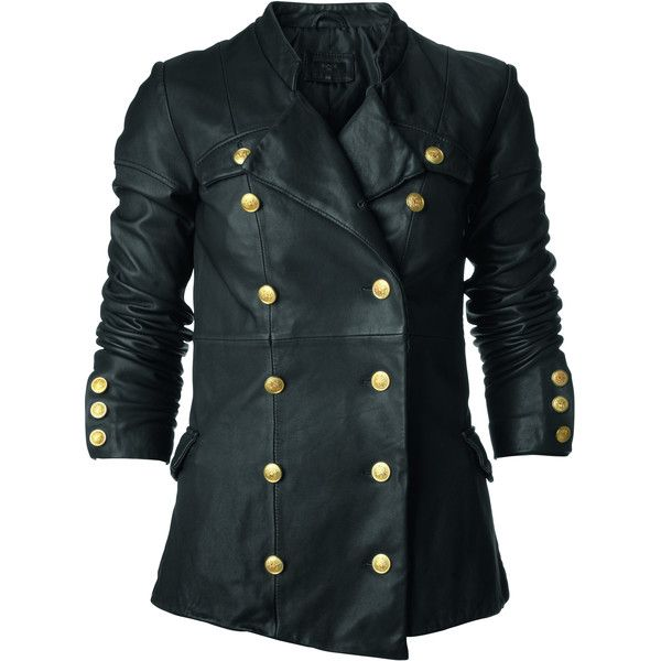 Bllack Noir Military leather jacket ($305) found on Polyvore