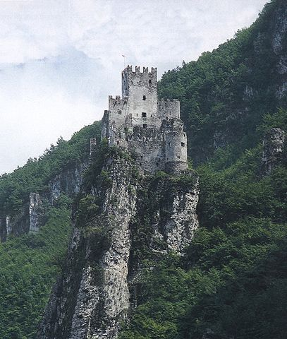The Haderburg in South Tyrol, high above the village of Salurn.