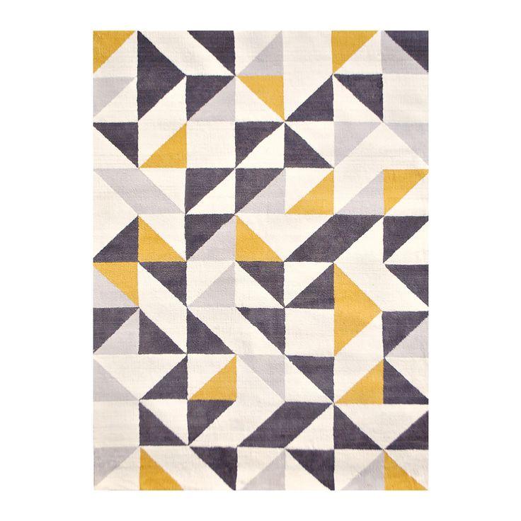 幾何学模様をあしらったラグマット「Geometry(ジオメトリー)」。ナチュラルからヴィンテージ、モダンまで、さまざまなお部屋に馴染みます。