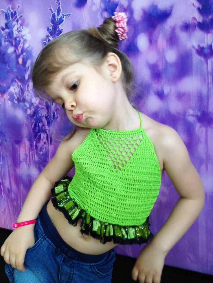Green crochet toddler top/ Open back yoga top/ Crochet baby toddler top/ 2T 3T 4T 5T crochet top/ Festival boho top/ Crochet crop top by ElenaVorobey on Etsy