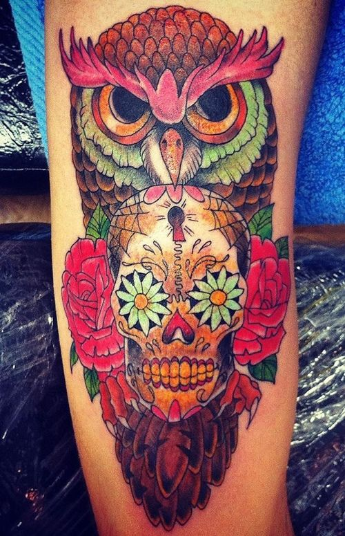 50 owl and skull tattoo ideas for your first ink owl for Owl and sugar skull tattoo