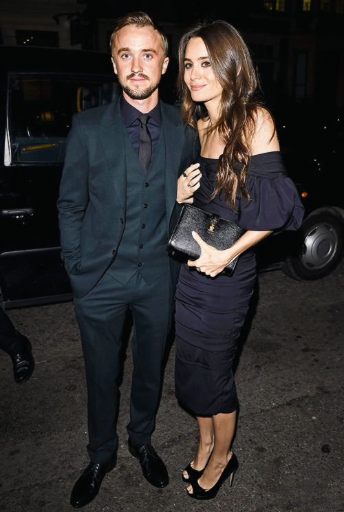 Tom Felton and Jade Gordon attend Claridge's Christmas Tree unveiling party at Claridge's hotel on November 19, 2014 in London, England