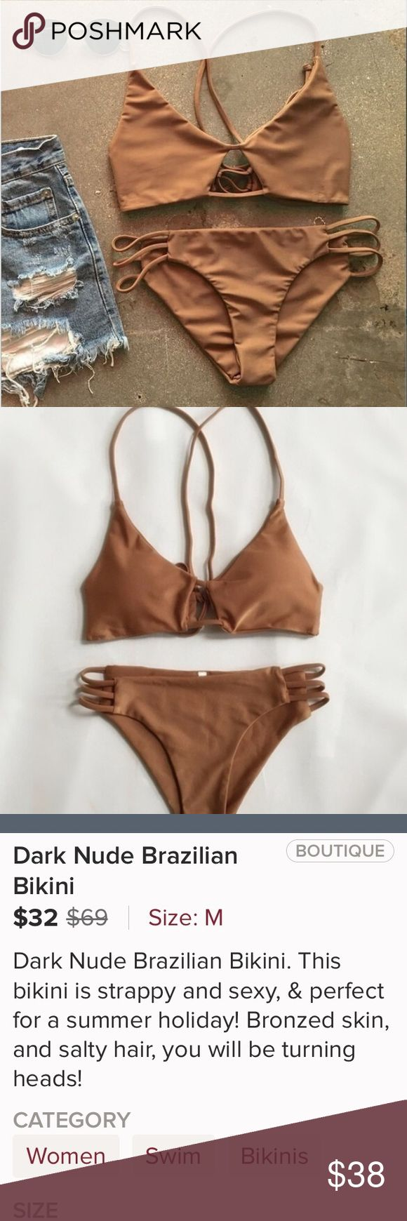 LAST ONE Dark Nude Brazilian Bikini. This bikini is strappy,  sexy and perfect for a summer holiday. Bronzed skin and salty hair, you will be turning heads. Swim Bikinis