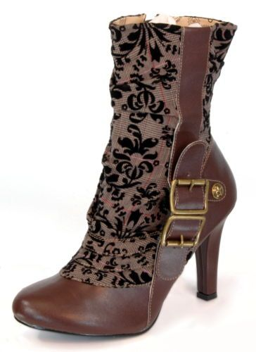 womens victorian steampunk cosplay brown tweed spat boots schuhe. Black Bedroom Furniture Sets. Home Design Ideas
